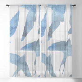 Watercolor birds - sapphire ink Sheer Curtain