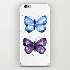 Butterflies Watercolor Blue and Purple Butterfly iPhone & iPod Skin