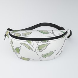 Light green leaves, watercolor Fanny Pack