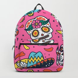Day Of The Dead Guitar Skull Pink Pattern Backpack