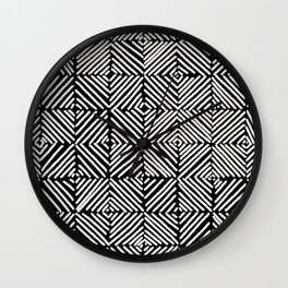 Diamond Grid Black and White Wall Clock