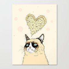 Grumpy Pizza Love Canvas Print