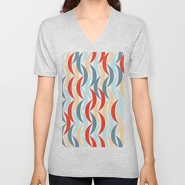 Abstract Geometric Blue Red And Pink Curved Pattern Unisex V-Neck