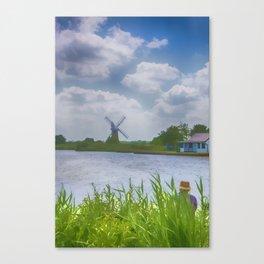 Fishing the Norfolk Broads  Canvas Print