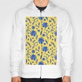 Elegant Blue Cone Flowers on Mustard Yellow Hoody