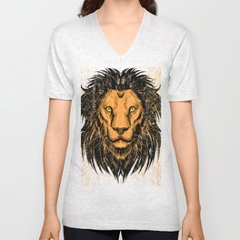 Lion Design Unisex V-Neck