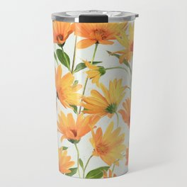 Painted Radiant Orange Daisies on off-white Travel Mug