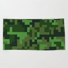 Green Jungle Army Camo pattern Beach Towel