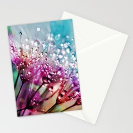 Dandelion Clock Pretty Water Droplets Stationery Cards