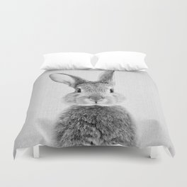 Rabbit - Black & White Duvet Cover