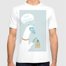 Alpaca Lunch SMALL White Mens Fitted Tee