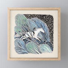 White Gallop Framed Mini Art Print