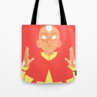 aang Tote Bags featuring Avatar Aang by lisaveeee