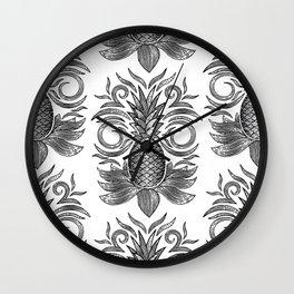 arcadia pineapples - black on white Wall Clock
