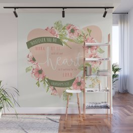"""""""All Your Heart"""" Floral Bible Verse Print Wall Mural"""