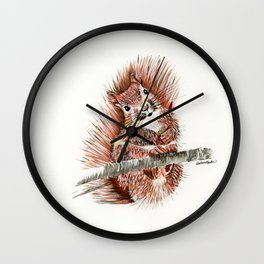Squirmy Squirrel - animal watercolor painting Wall Clock