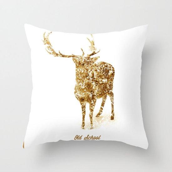 Old School Rocks! Gold Deer Version Throw Pillow