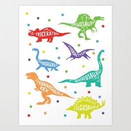 Dinosaur Childrens Kids Triceratops T-Rex Tyrannosaurus Rex Art Print