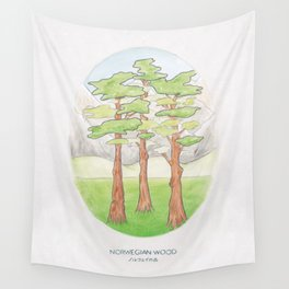 Haruki Murakami's Norwegian Wood // Illustration of a Forest and Mountains in Pencil Wall Tapestry