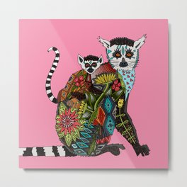 ring tailed lemur love pink Metal Print