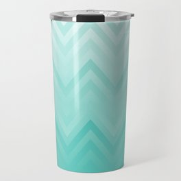 Fading Teal Chevron Travel Mug