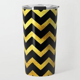 Black & Gold Chevron Travel Mug