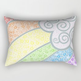 Dotty Rainbow and Swirly Cloud Rectangular Pillow