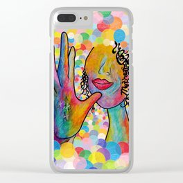 ASL for MOTHER on a Bright Bubble Background Clear iPhone Case