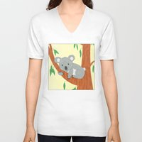 koala V-neck T-shirts featuring Koala by Claire Lordon