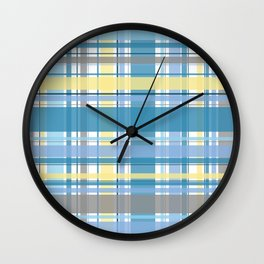 Blue and Yellow Tartan Wall Clock