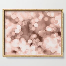 Christmas rose gold pink brown bokeh glitter Serving Tray