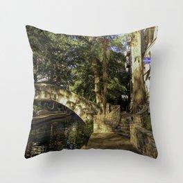 San Antonio Riverwalk La Mansion Hotel And Bridge Throw Pillow