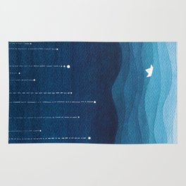 Falling stars, blue, sailboat, ocean Rug
