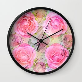 Pink roses on a painterly background Wall Clock