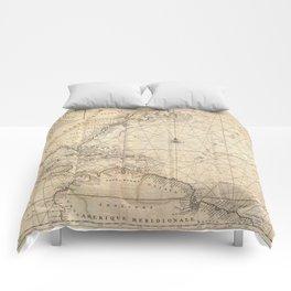 1683 Map of North America, West Indies, and Atlantic Ocean Comforters