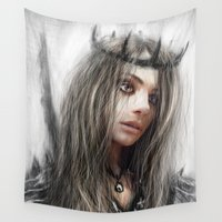 crown Wall Tapestries featuring Dark Crown by Justin Gedak