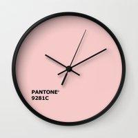 pantone Wall Clocks featuring PANTONE 9281C by cvrcak