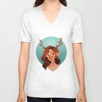 fawn V-neck T-shirts featuring Fawn by Lauren Draghetti