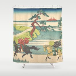 Japanese Print Three Horse Riders Shower Curtain