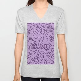 Lavender Dreams Roses - Light with Dark Outline - Color Therapy Unisex V-Neck