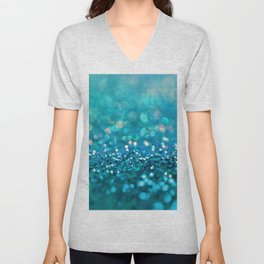 Teal turquoise blue shiny glitter print effect - Sparkle Luxury Backdrop Unisex V-Neck