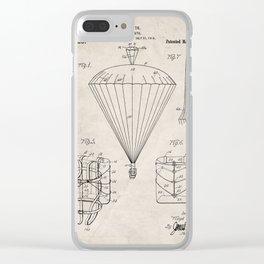 Parachute Patent - Sky Diving Art - Antique Clear iPhone Case