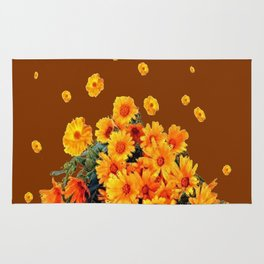 COFFEE BROWN SHOWER GOLDEN FLOWERS Rug