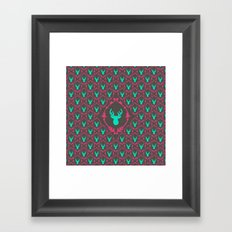 Oh Deer (teal dark) Framed Art Print