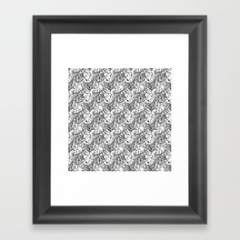 abstract pattern b/w lines Framed Art Print