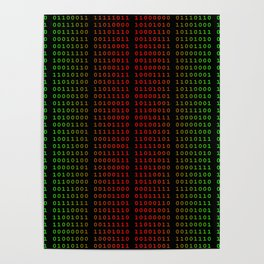 Binary Green and Red With Spaces Poster