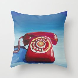 Retro Red Phone Throw Pillow