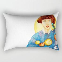 Knitter with bird Rectangular Pillow
