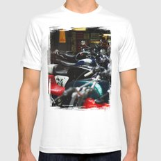 Motorcycles MEDIUM White Mens Fitted Tee
