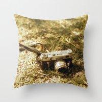 vintage camera Throw Pillows featuring camera by inesmarinho